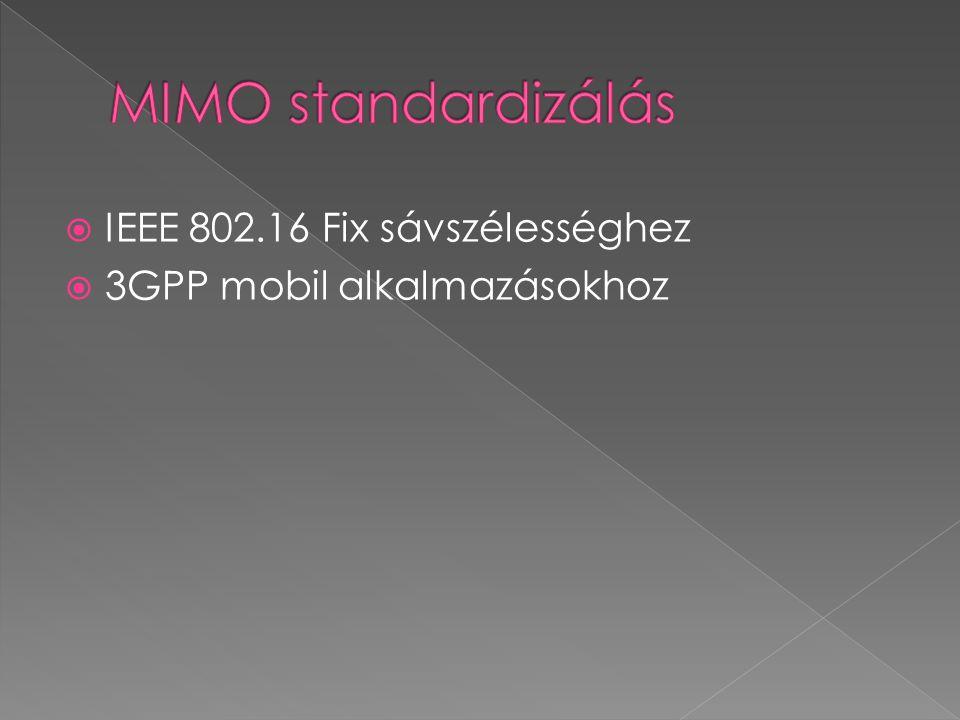  IEEE 802.16 Fix sávszélességhez  3GPP mobil alkalmazásokhoz