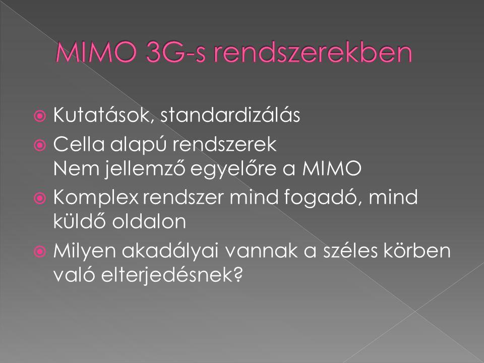  Kutatások, standardizálás  Cella alapú rendszerek Nem jellemző egyelőre a MIMO  Komplex rendszer mind fogadó, mind küldő oldalon  Milyen akadályai vannak a széles körben való elterjedésnek?