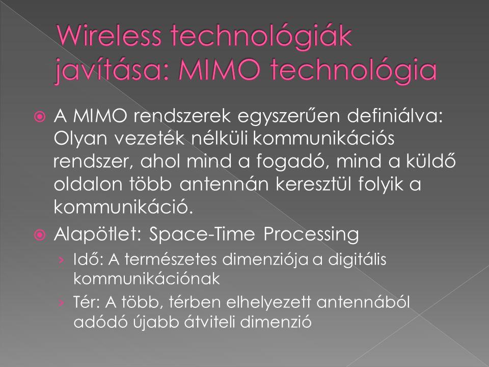  A MIMO rendszerek egyszerűen definiálva: Olyan vezeték nélküli kommunikációs rendszer, ahol mind a fogadó, mind a küldő oldalon több antennán keresz
