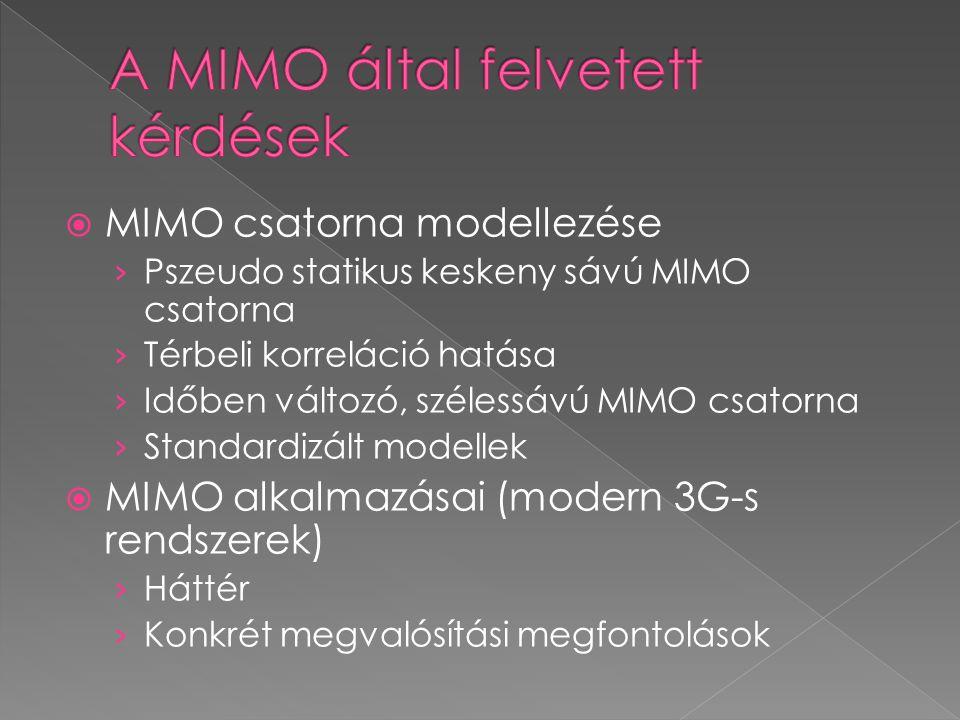  MIMO csatorna modellezése › Pszeudo statikus keskeny sávú MIMO csatorna › Térbeli korreláció hatása › Időben változó, szélessávú MIMO csatorna › Standardizált modellek  MIMO alkalmazásai (modern 3G-s rendszerek) › Háttér › Konkrét megvalósítási megfontolások