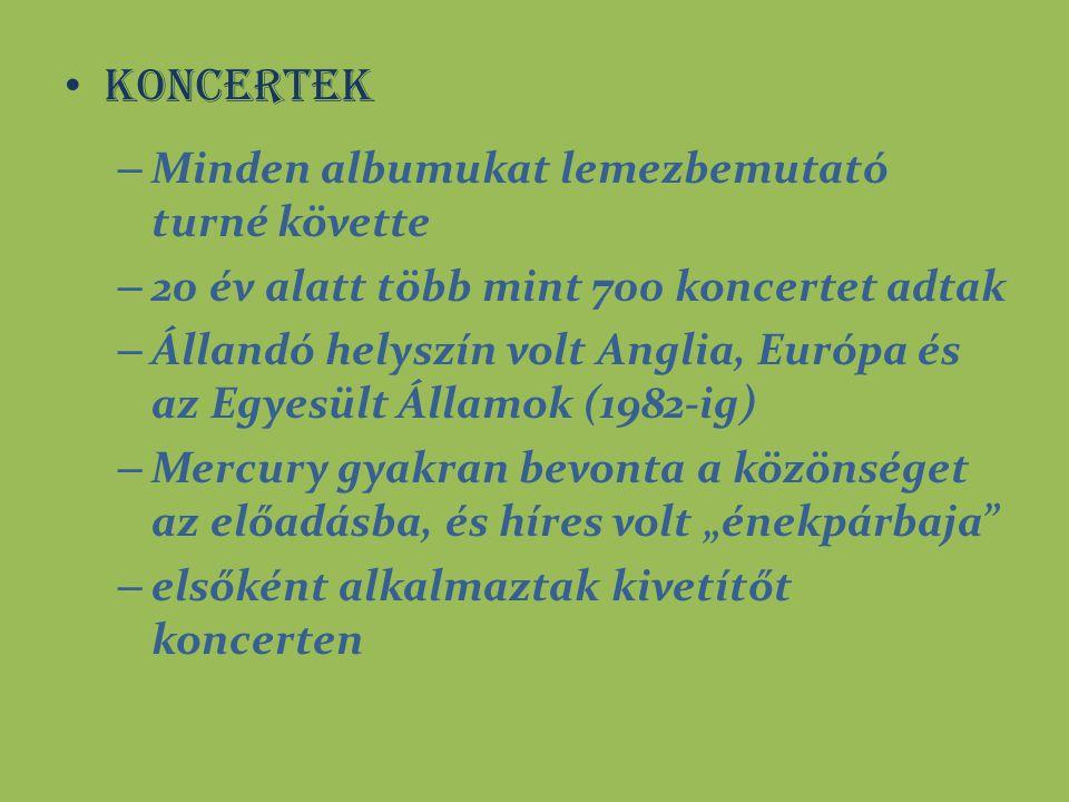 Koncertek – Minden albumukat lemezbemutató turné követte – 20 év alatt több mint 700 koncertet adtak – Állandó helyszín volt Anglia, Európa és az Egye