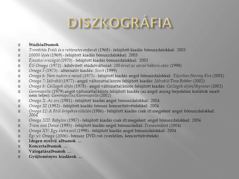  Stúdióalbumok  Trombitás Frédi és a rettenetes emberek (1968) - felújított kiadás bónuszdalokkal: 2003  10000 lépés (1969) - felújított kiadás bónuszdalokkal: 2003  Éjszakai országút (1970) - felújított kiadás bónuszdalokkal: 2003  Élő Omega (1972) - kibővített stúdióváltozat: 200 évvel az utolsó háború után (1998)  Omega 5 (1973) - alternatív kiadás: Szvit (1999)  Omega 6: Nem tudom a neved (1975) - felújított kiadás angol bónuszdalokkal: Tűzvihar/Stormy Fire (2001)  Omega 7: Időrabló (1977) - angol változattal közös felújított kiadás: Időrabló/Time Robber (2002)  Omega 8: Csillagok útján (1978) - angol változattal közös felújított kiadás: Csillagok útján/Skyrover (2002)  Gammapolis (1979) angol változattal közös felújított kiadás (az angol anyag terjedelmi korlátok miatt nem teljes): Gammapolisz/Gammapolis (2002)  Omega X: Az arc (1981) - felújított kiadás angol bónuszdalokkal: 2004  Omega XI (1982) - felújított kiadás bónusz koncertfelvételekkel: 2004  Omega 12: A Föld árnyékos oldalán (1986) - felújított kiadás csak itt megjelent angol bónuszdalokkal: 2004  Omega XIII: Babylon (1987) - felújított kiadás csak itt megjelent angol bónuszdalokkal: 2004  Trans and Dance (1995) - felújított kiadás angol bónuszdallal: Transcendent (2004)  Omega XV: Egy életre szól (1998) - felújított kiadás angol bónuszdalokkal: 2004  Égi jel: Omega (2006) - bónusz DVD-vel (werkfilm, koncertfelvételek)  Idegen nyelvű albumok …  Koncertalbumok …  Válogatásalbumok …  Gyűjteményes kiadások …