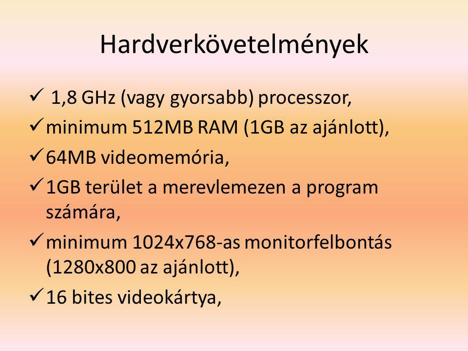Hardverkövetelmények 1,8 GHz (vagy gyorsabb) processzor, minimum 512MB RAM (1GB az ajánlott), 64MB videomemória, 1GB terület a merevlemezen a program számára, minimum 1024x768-as monitorfelbontás (1280x800 az ajánlott), 16 bites videokártya,
