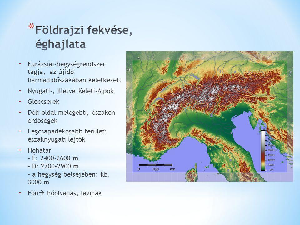 - Eurázsiai-hegységrendszer tagja, az újidő harmadidőszakában keletkezett - Nyugati-, illetve Keleti-Alpok - Gleccserek - Déli oldal melegebb, északon