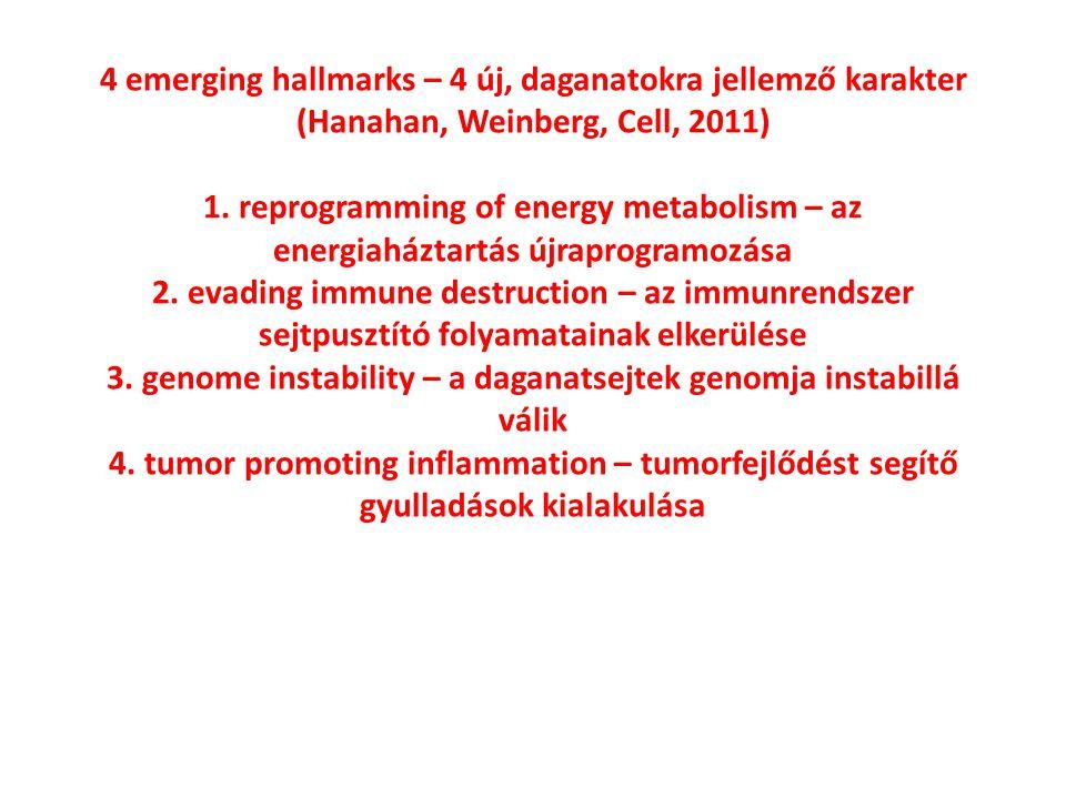 4 emerging hallmarks – 4 új, daganatokra jellemző karakter (Hanahan, Weinberg, Cell, 2011) 1. reprogramming of energy metabolism – az energiaháztartás