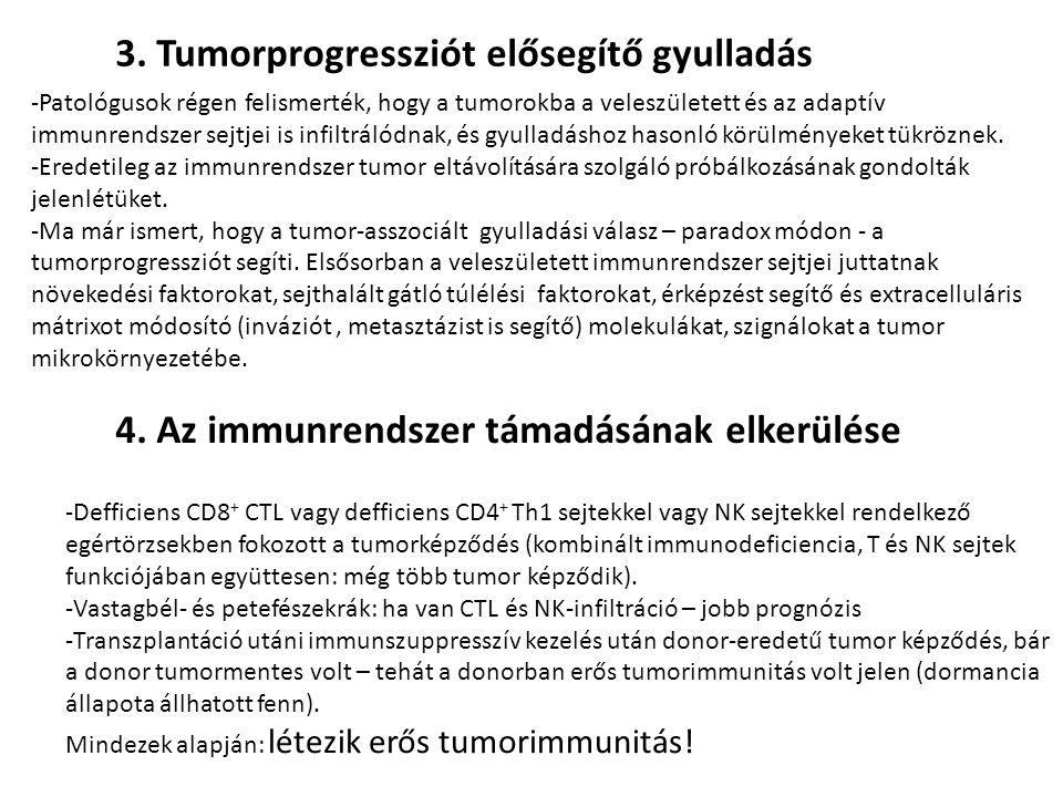 A tumorsejtek képesek visszaverni az immunrendszer támadásait -Az erősen immunogén (highly immunogenic cancer cells) rákos sejtek képesek gátolni a tumorimmunitást: -CTL és NK sejtek paralízise TGF-béta és más, immunoszuppresszív faktorok termelésével.