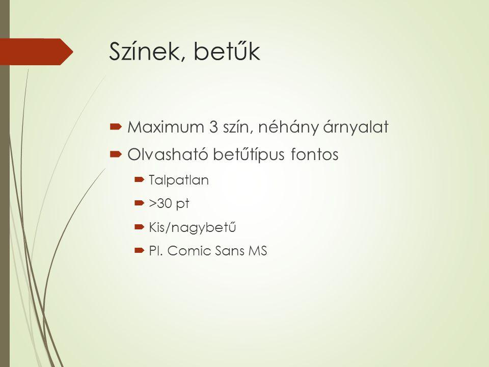 Színek, betűk  Maximum 3 szín, néhány árnyalat  Olvasható betűtípus fontos  Talpatlan  >30 pt  Kis/nagybetű  Pl.