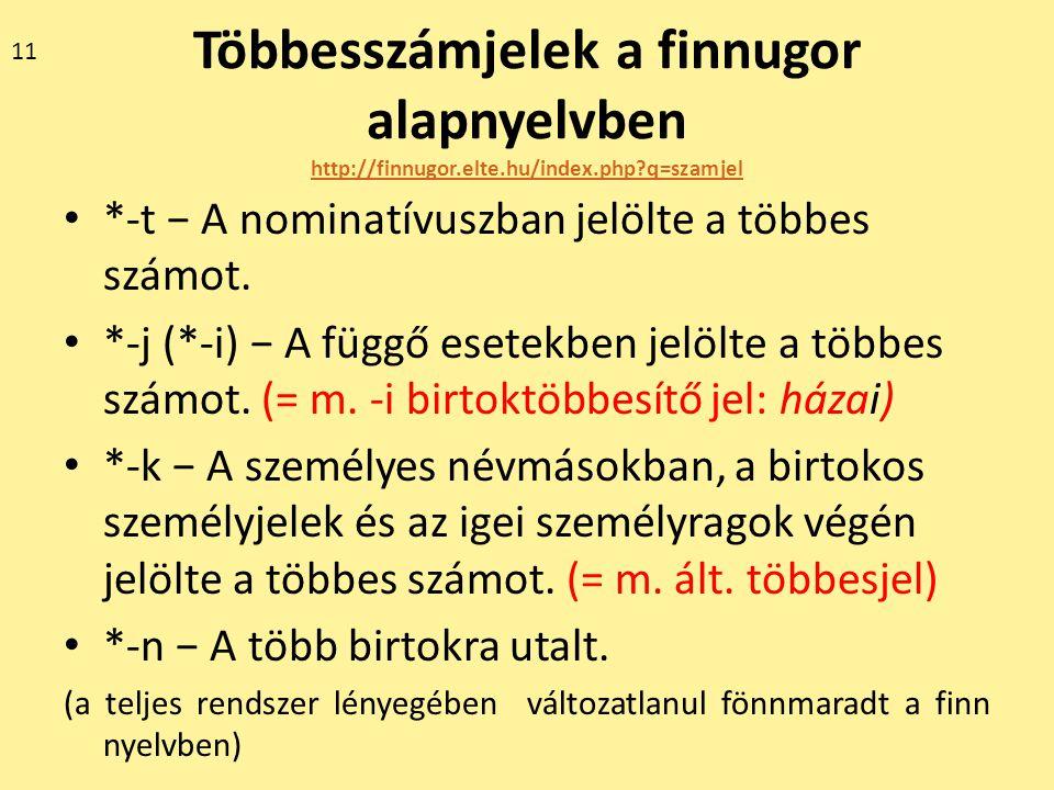 Többesszámjelek a finnugor alapnyelvben http://finnugor.elte.hu/index.php?q=szamjel http://finnugor.elte.hu/index.php?q=szamjel *-t − A nominatívuszba