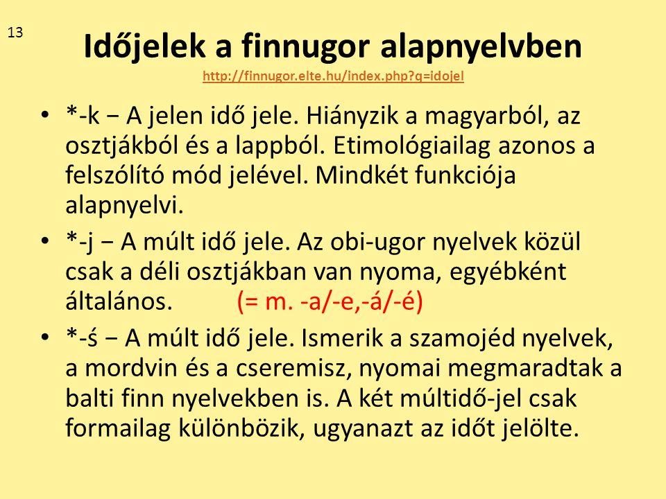Időjelek a finnugor alapnyelvben http://finnugor.elte.hu/index.php?q=idojel http://finnugor.elte.hu/index.php?q=idojel *-k − A jelen idő jele. Hiányzi