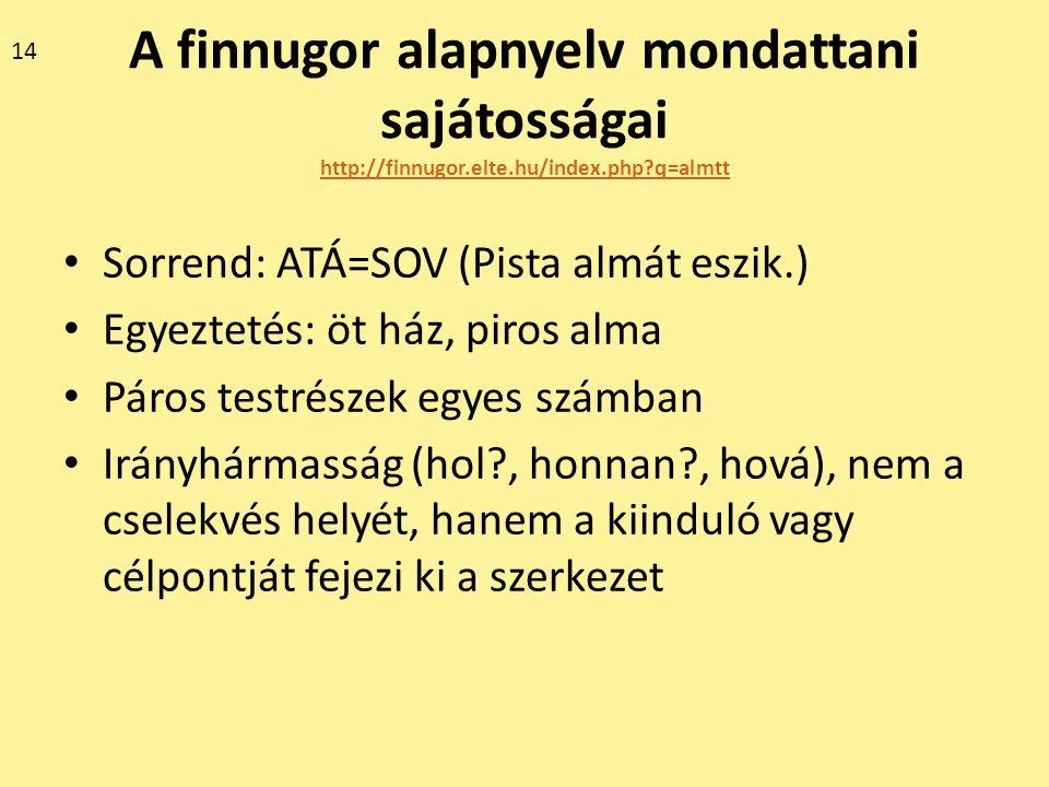 A finnugor alapnyelv mondattani sajátosságai http://finnugor.elte.hu/index.php?q=almtt http://finnugor.elte.hu/index.php?q=almtt Sorrend: ATÁ=SOV (Pis