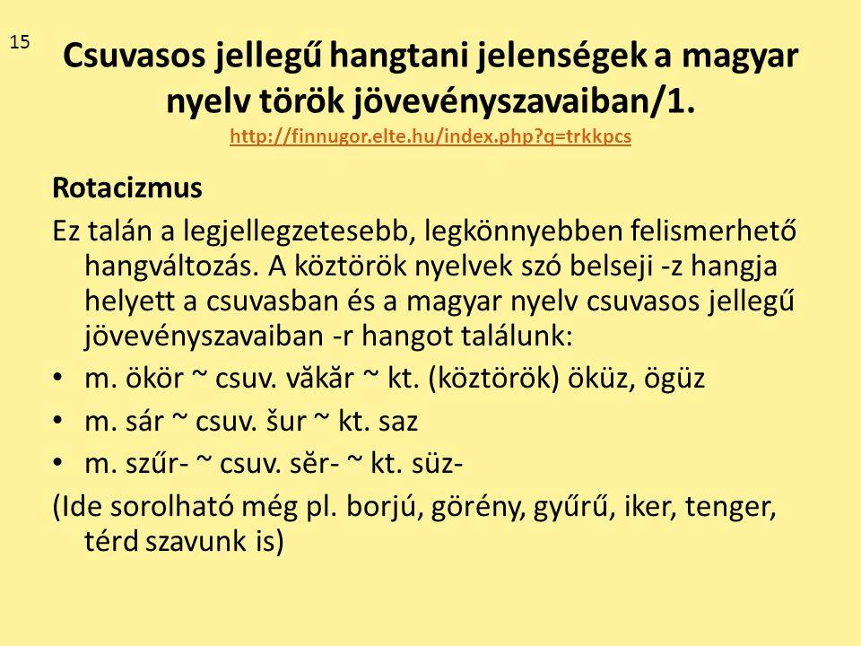 Csuvasos jellegű hangtani jelenségek a magyar nyelv török jövevényszavaiban/1. http://finnugor.elte.hu/index.php?q=trkkpcs http://finnugor.elte.hu/ind