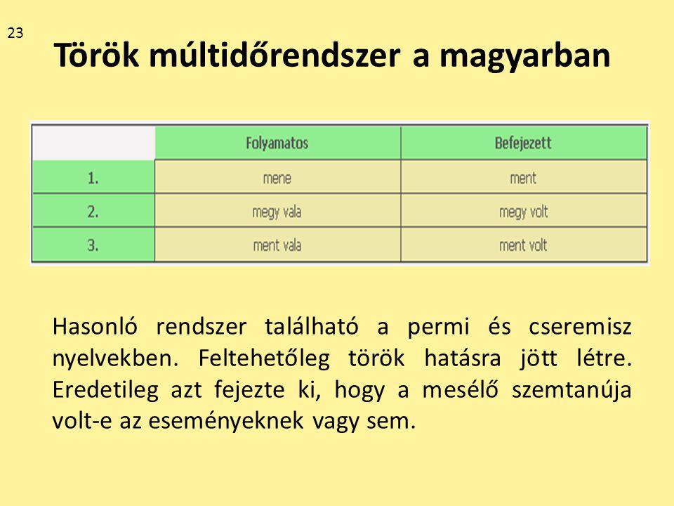 Török múltidőrendszer a magyarban Hasonló rendszer található a permi és cseremisz nyelvekben. Feltehetőleg török hatásra jött létre. Eredetileg azt fe
