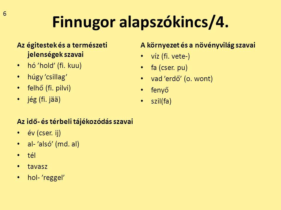 Néhány etimológia Forrás: A magyar szókészlet finnugor elemei I-III.
