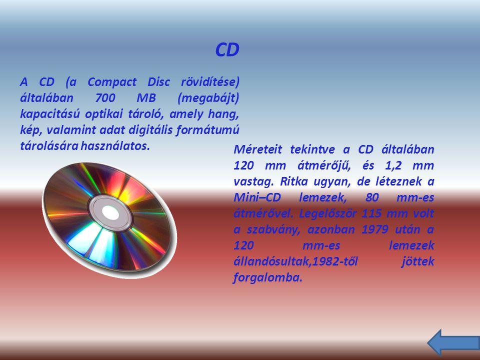 CD A CD (a Compact Disc rövidítése) általában 700 MB (megabájt) kapacitású optikai tároló, amely hang, kép, valamint adat digitális formátumú tárolására használatos.