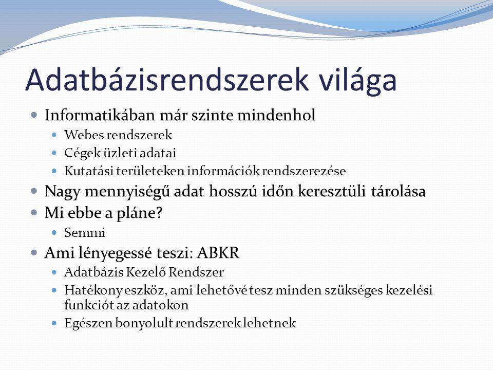 ABKR - Elvárások 1.Rendelkezésre álljon egy Adatdefiníciós nyelv - DDL 2.