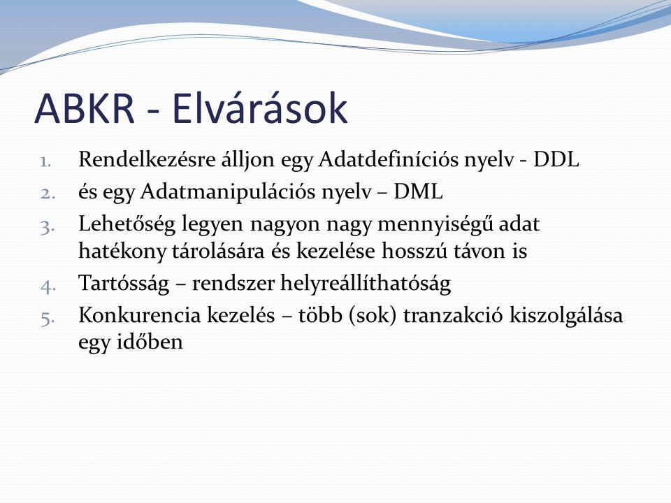 ABKR - Elvárások 1. Rendelkezésre álljon egy Adatdefiníciós nyelv - DDL 2. és egy Adatmanipulációs nyelv – DML 3. Lehetőség legyen nagyon nagy mennyis