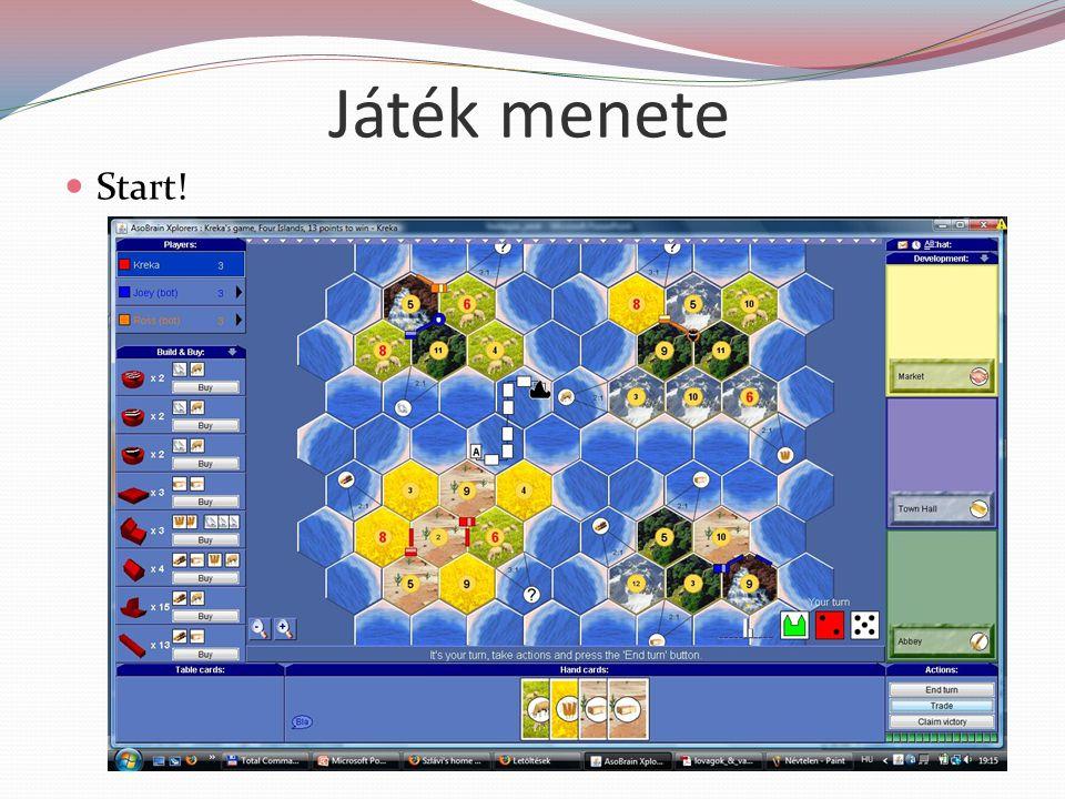 Játék menete Kezdő játékos kisorsolása (2 kocka, max kezd) Kezdő települések elhelyezése (1.