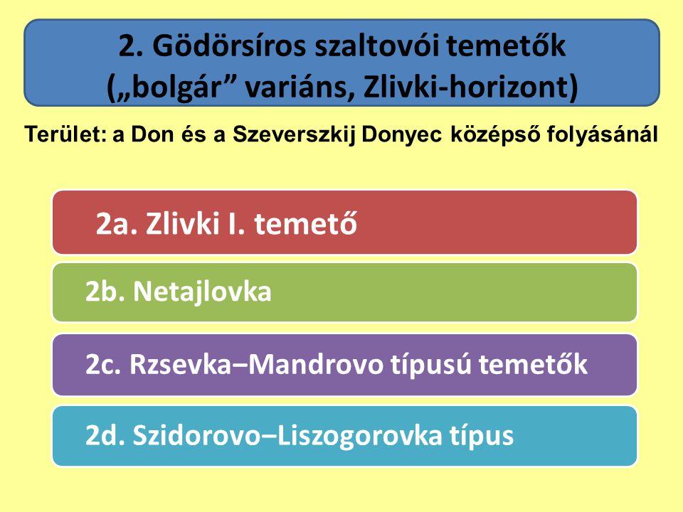 """2. Gödörsíros szaltovói temetők (""""bolgár"""" variáns, Zlivki-horizont) 2a. Zlivki I. temető 2b. Netajlovka 2c. Rzsevka‒Mandrovo típusú temetők 2d. Szidor"""