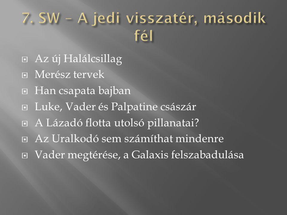  Az új Halálcsillag  Merész tervek  Han csapata bajban  Luke, Vader és Palpatine császár  A Lázadó flotta utolsó pillanatai.