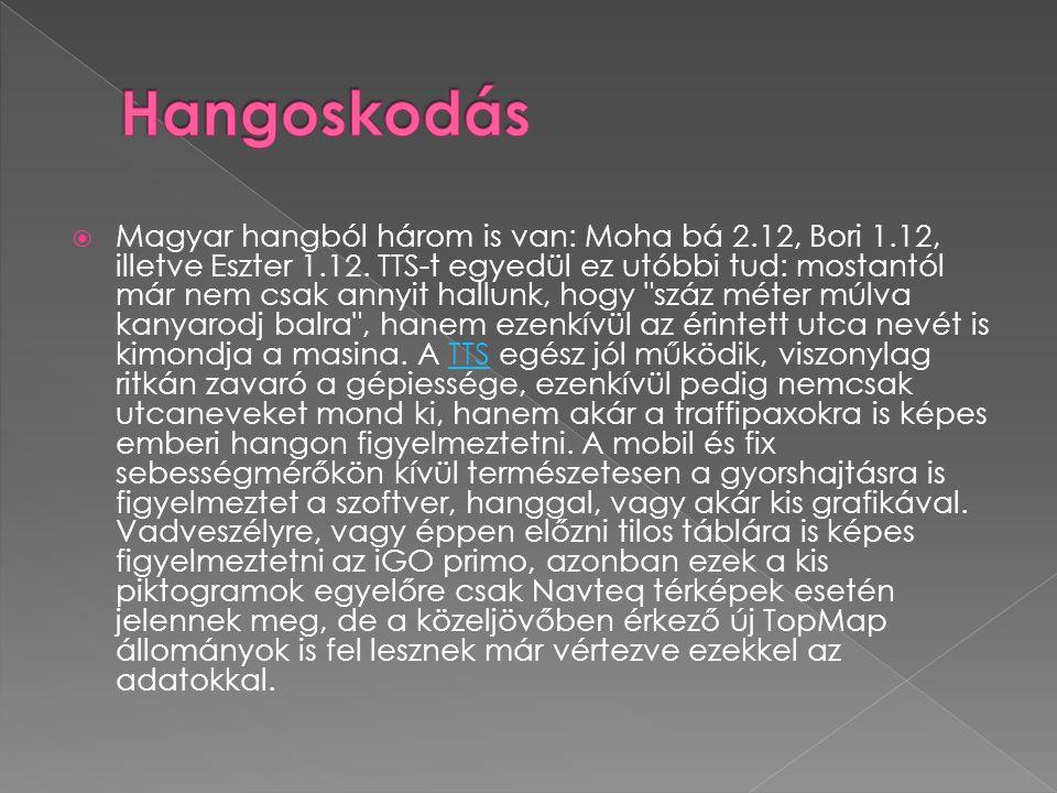  Magyar hangból három is van: Moha bá 2.12, Bori 1.12, illetve Eszter 1.12. TTS-t egyedül ez utóbbi tud: mostantól már nem csak annyit hallunk, hogy