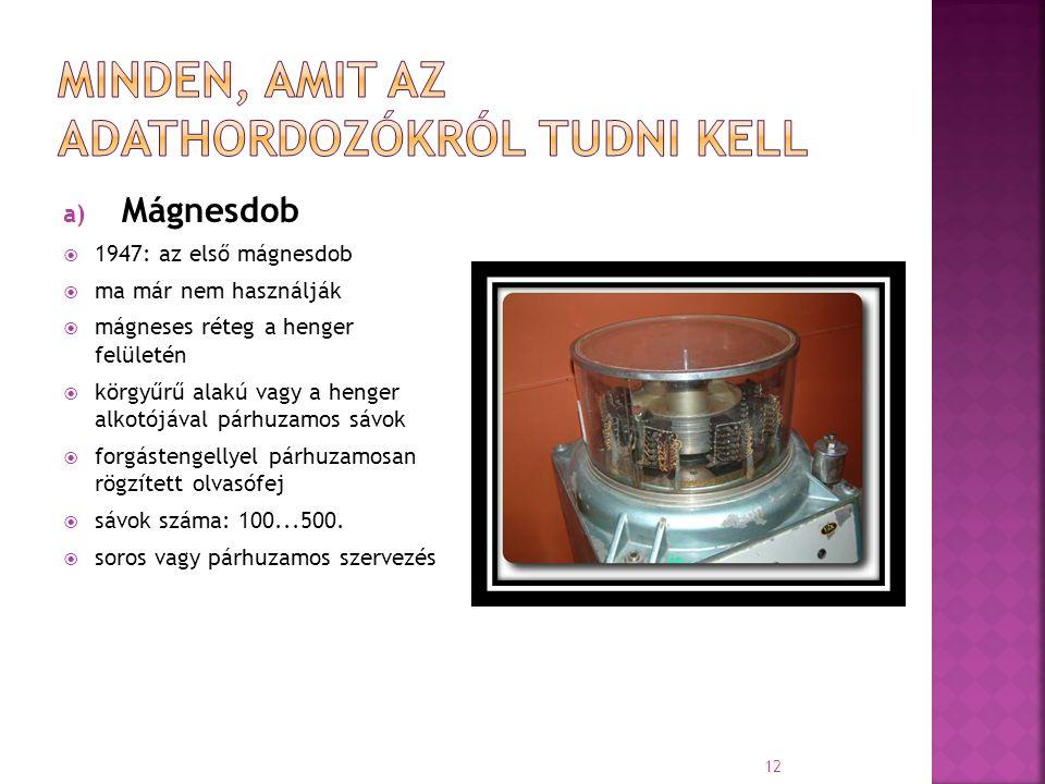 a) Mágnesdob  1947: az első mágnesdob  ma már nem használják  mágneses réteg a henger felületén  körgyűrű alakú vagy a henger alkotójával párhuzam