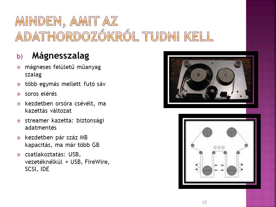 b) Mágnesszalag  mágneses felületű műanyag szalag  több egymás mellett futó sáv  soros elérés  kezdetben orsóra csévélt, ma kazettás változat  st