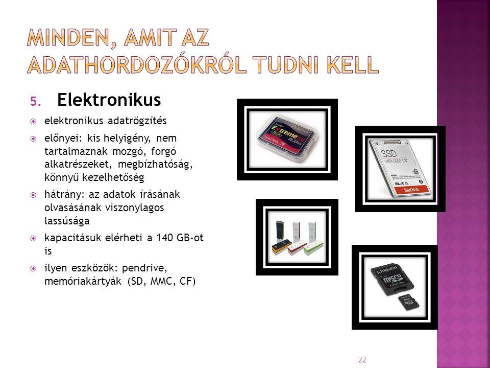 5. Elektronikus  elektronikus adatrögzítés  előnyei: kis helyigény, nem tartalmaznak mozgó, forgó alkatrészeket, megbízhatóság, könnyű kezelhetőség