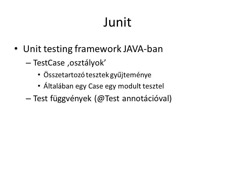 Junit Unit testing framework JAVA-ban – TestCase 'osztályok' Összetartozó tesztek gyűjteménye Általában egy Case egy modult tesztel – Test függvények