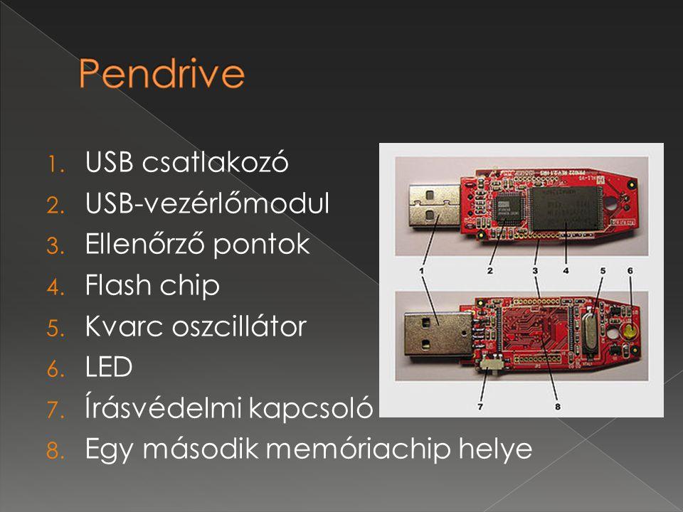 1. USB csatlakozó 2. USB-vezérlőmodul 3. Ellenőrző pontok 4. Flash chip 5. Kvarc oszcillátor 6. LED 7. Írásvédelmi kapcsoló 8. Egy második memóriachip