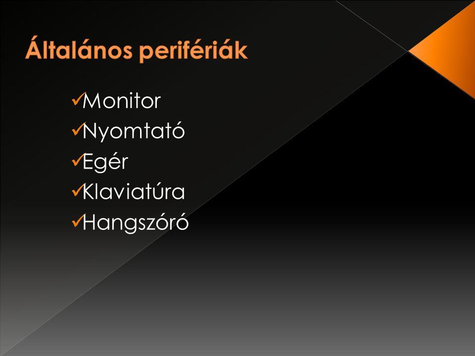 Monitor Nyomtató Egér Klaviatúra Hangszóró