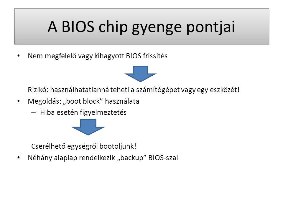 A BIOS chip gyenge pontjai Nem megfelelő vagy kihagyott BIOS frissítés Rizikó: használhatatlanná teheti a számítógépet vagy egy eszközét.