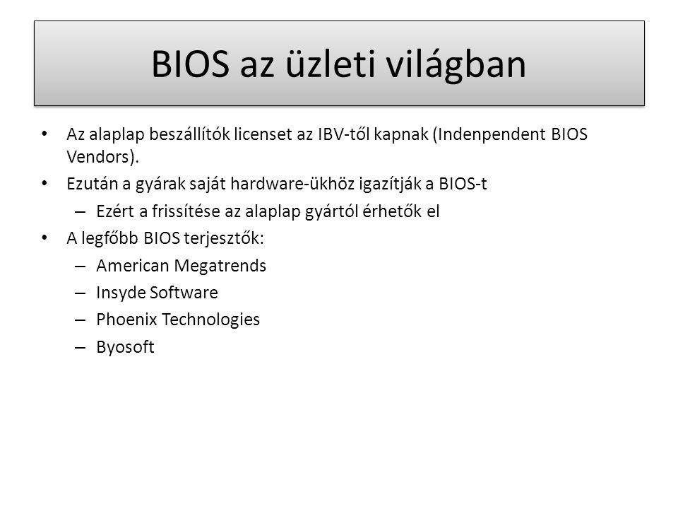 BIOS az üzleti világban Az alaplap beszállítók licenset az IBV-től kapnak (Indenpendent BIOS Vendors).