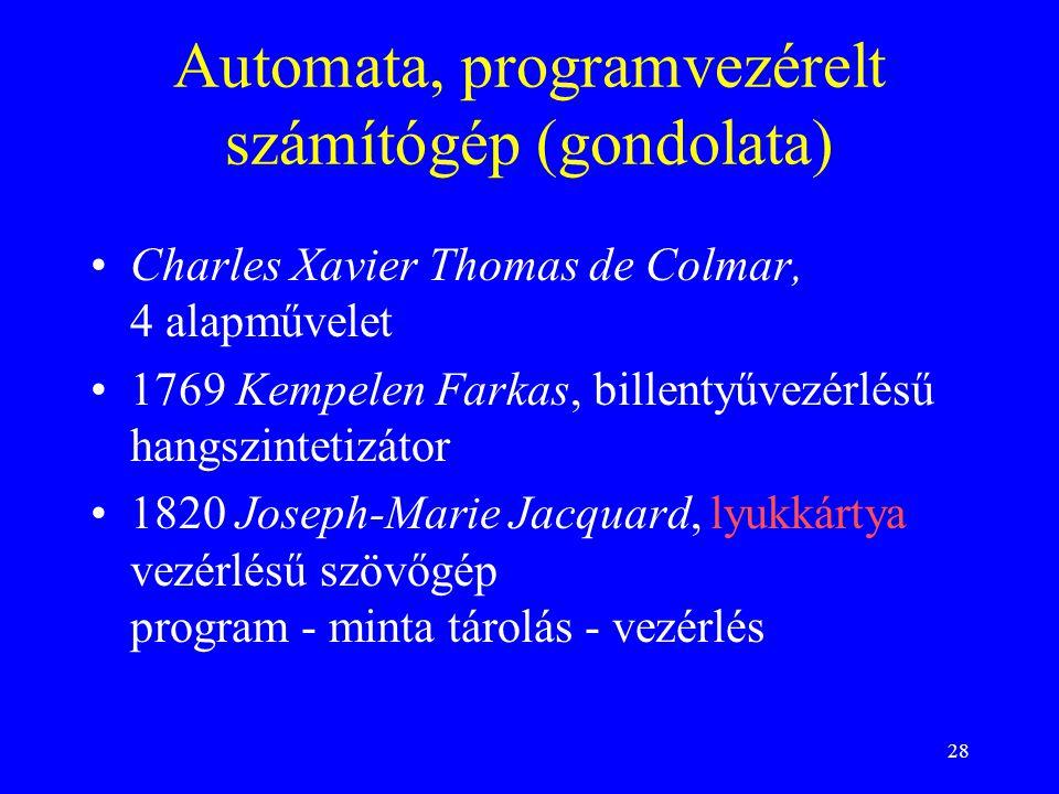 28 Automata, programvezérelt számítógép (gondolata) Charles Xavier Thomas de Colmar, 4 alapművelet 1769 Kempelen Farkas, billentyűvezérlésű hangszinte