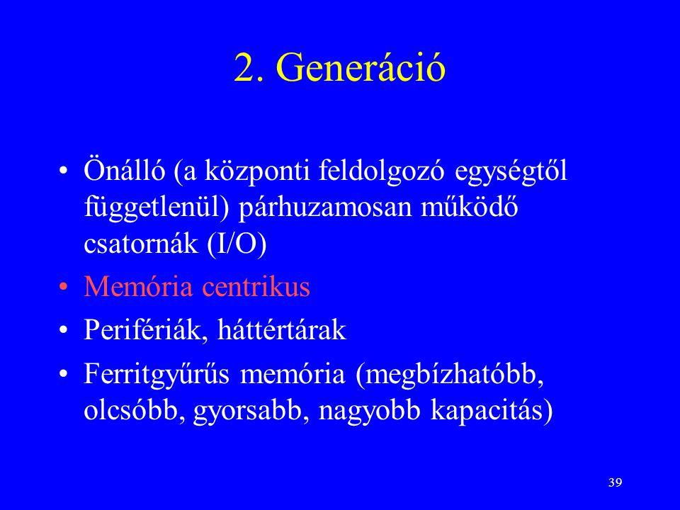 39 2. Generáció Önálló (a központi feldolgozó egységtől függetlenül) párhuzamosan működő csatornák (I/O) Memória centrikus Perifériák, háttértárak Fer