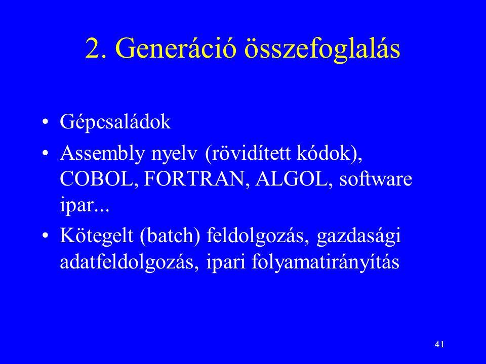 41 2. Generáció összefoglalás Gépcsaládok Assembly nyelv (rövidített kódok), COBOL, FORTRAN, ALGOL, software ipar... Kötegelt (batch) feldolgozás, gaz