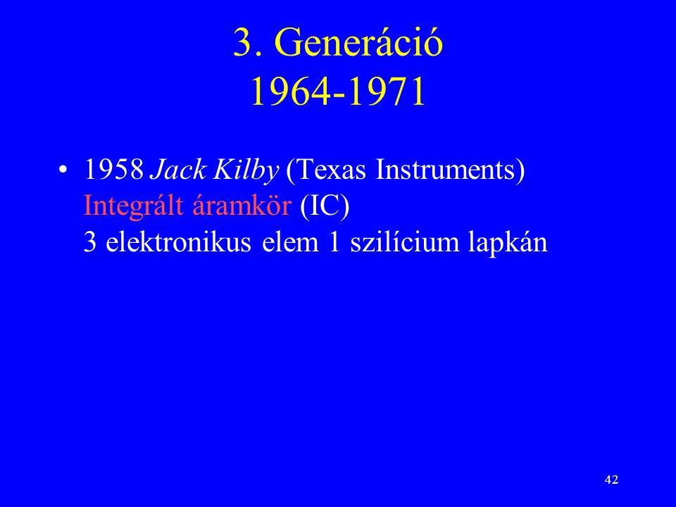 42 3. Generáció 1964-1971 1958 Jack Kilby (Texas Instruments) Integrált áramkör (IC) 3 elektronikus elem 1 szilícium lapkán