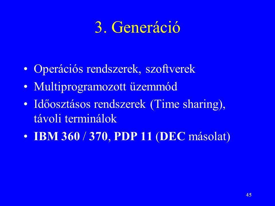 45 3. Generáció Operációs rendszerek, szoftverek Multiprogramozott üzemmód Időosztásos rendszerek (Time sharing), távoli terminálok IBM 360 / 370, PDP