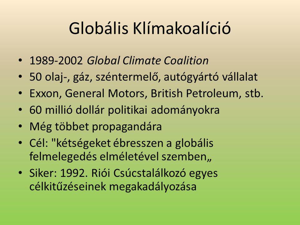 Globális Klímakoalíció 1989-2002 Global Climate Coalition 50 olaj-, gáz, széntermelő, autógyártó vállalat Exxon, General Motors, British Petroleum, st
