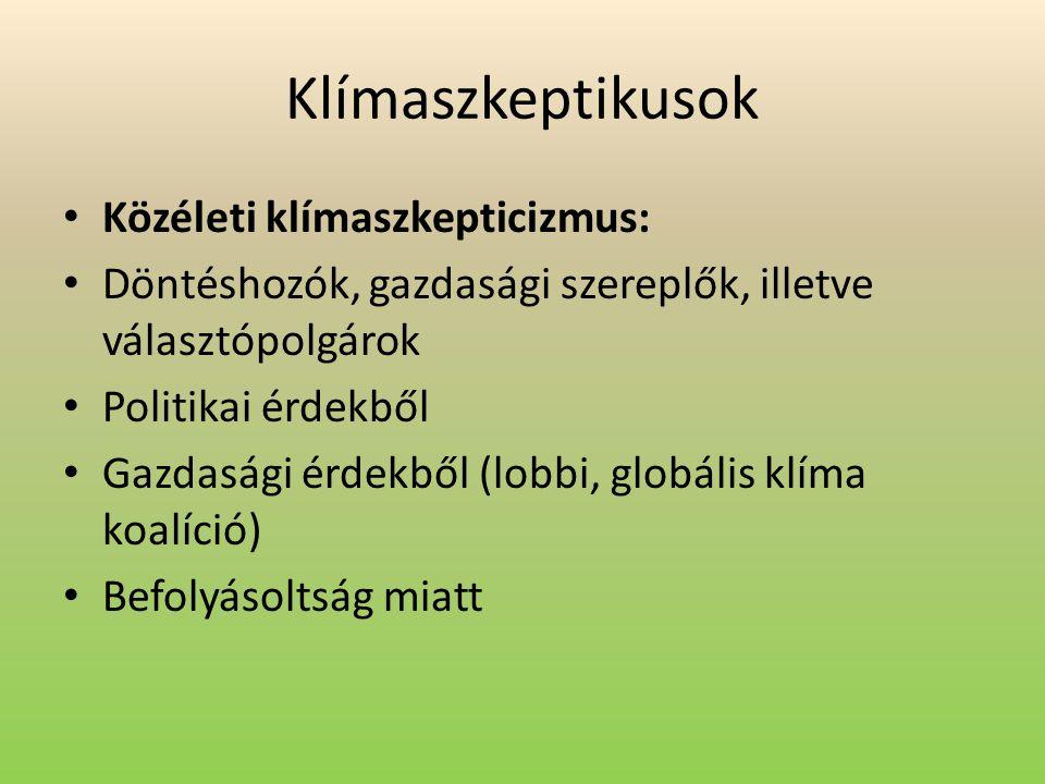 Klímaszkeptikusok Közéleti klímaszkepticizmus: Döntéshozók, gazdasági szereplők, illetve választópolgárok Politikai érdekből Gazdasági érdekből (lobbi