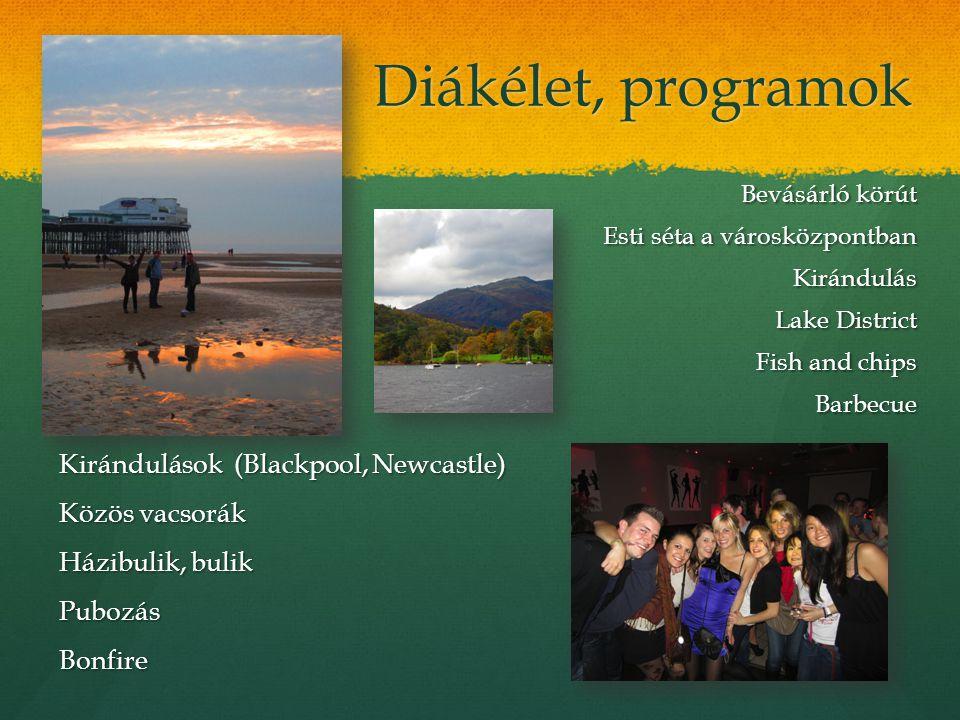 Diákélet, programok Bevásárló körút Esti séta a városközpontban Kirándulás Lake District Fish and chips Barbecue Kirándulások (Blackpool, Newcastle) K