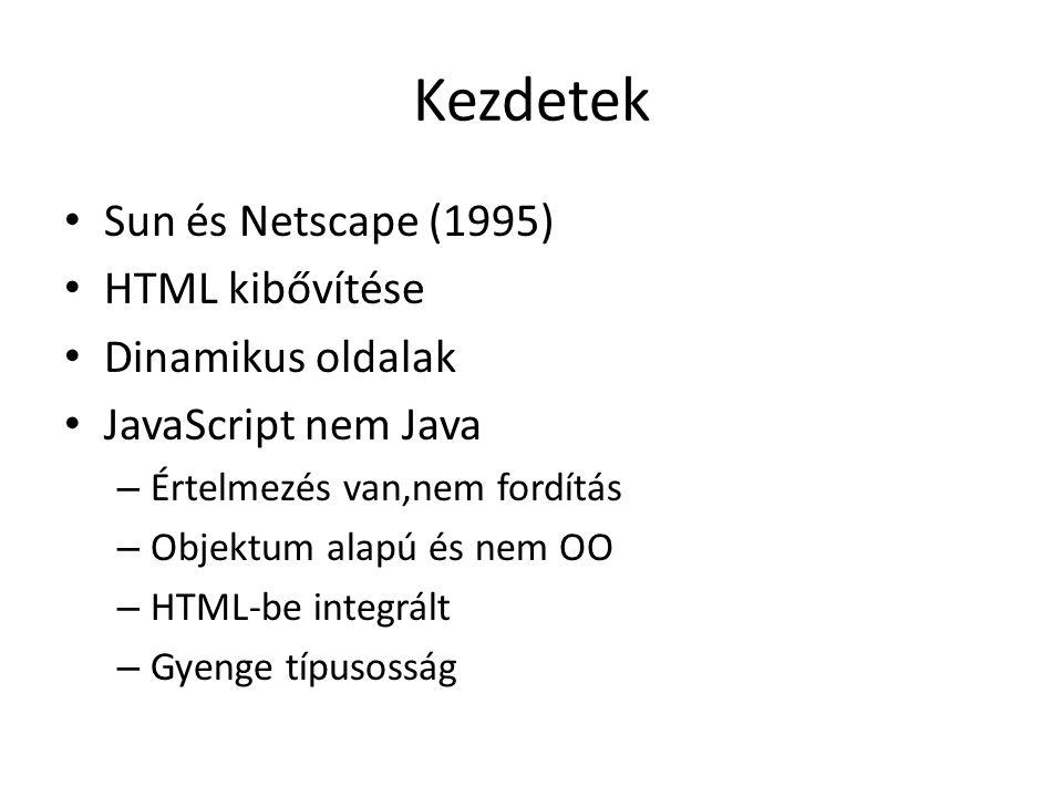 Kezdetek Sun és Netscape (1995) HTML kibővítése Dinamikus oldalak JavaScript nem Java – Értelmezés van,nem fordítás – Objektum alapú és nem OO – HTML-