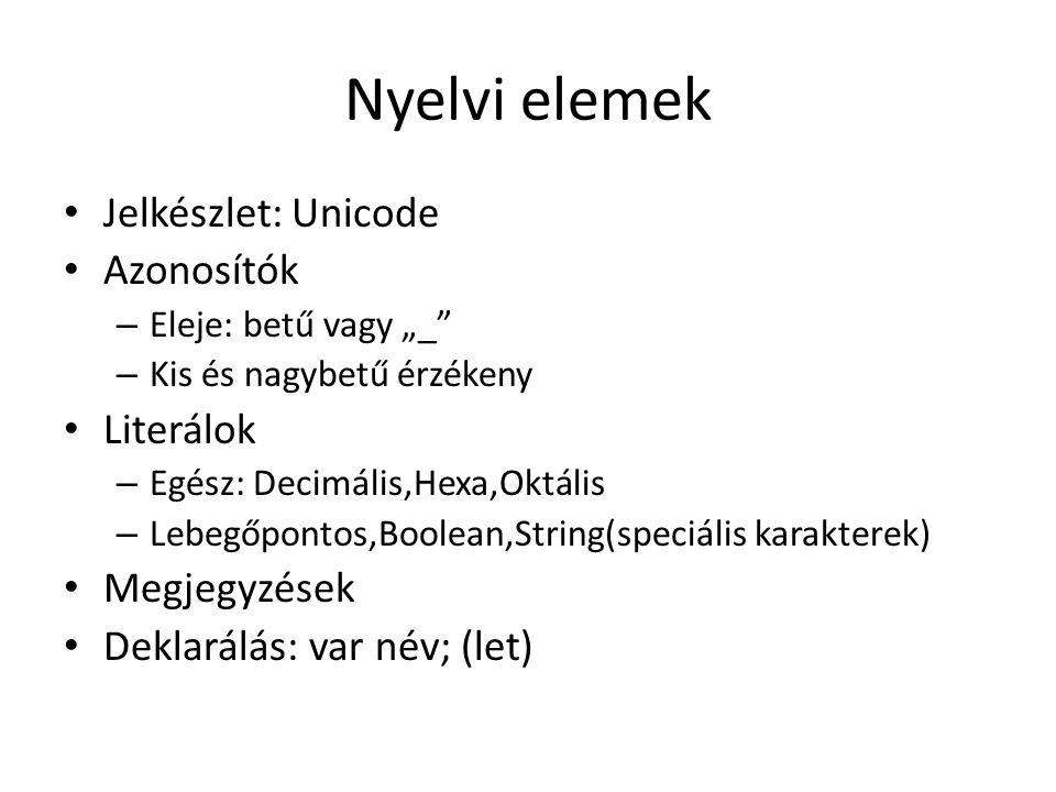 """Nyelvi elemek Jelkészlet: Unicode Azonosítók – Eleje: betű vagy """"_"""" – Kis és nagybetű érzékeny Literálok – Egész: Decimális,Hexa,Oktális – Lebegőponto"""