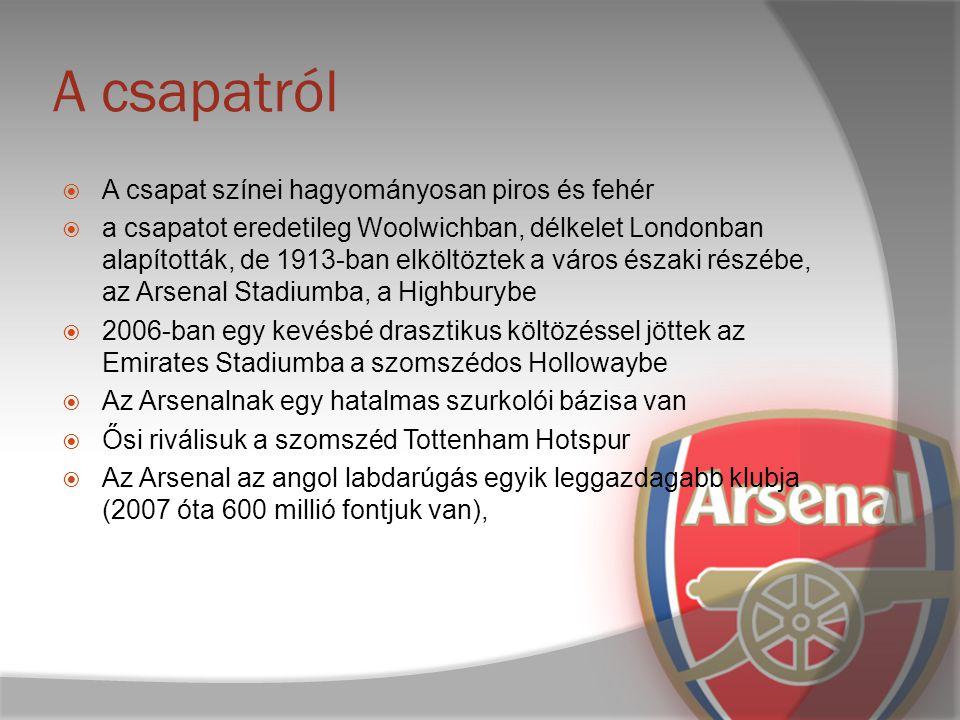 A csapat alapítása és története  Az Arsenalt 1886-ban alapították, 3 névváltoztatáson esett át  Első fontosabb trófeáikat a 30-as években nyerték, öt League Championship címmel és két FA Kupával  Egy sikertelen időszak után a háború utáni években csak a második klub voltak a 20.