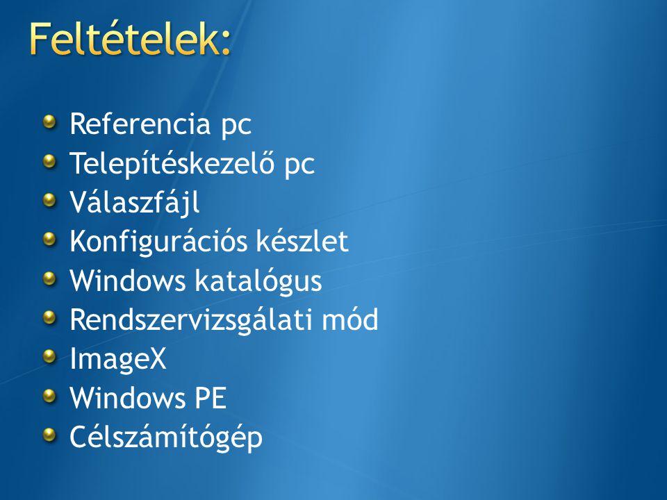 Referencia pc Telepítéskezelő pc Válaszfájl Konfigurációs készlet Windows katalógus Rendszervizsgálati mód ImageX Windows PE Célszámítógép