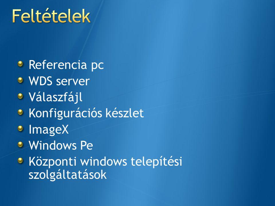 Referencia pc WDS server Válaszfájl Konfigurációs készlet ImageX Windows Pe Központi windows telepítési szolgáltatások