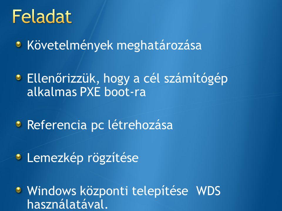 Követelmények meghatározása Ellenőrizzük, hogy a cél számítógép alkalmas PXE boot-ra Referencia pc létrehozása Lemezkép rögzítése Windows központi tel
