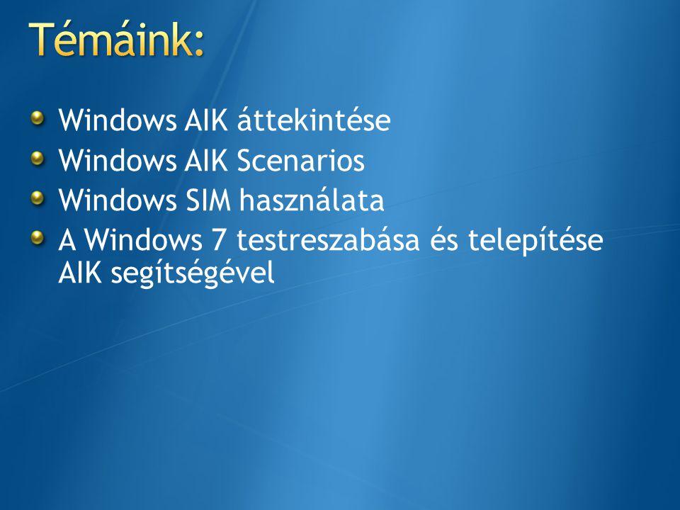 Windows AIK áttekintése Windows AIK Scenarios Windows SIM használata A Windows 7 testreszabása és telepítése AIK segítségével