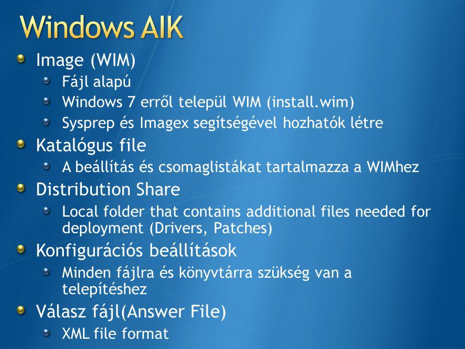 Image (WIM) Fájl alapú Windows 7 erről települ WIM (install.wim) Sysprep és Imagex segítségével hozhatók létre Katalógus file A beállítás és csomaglis