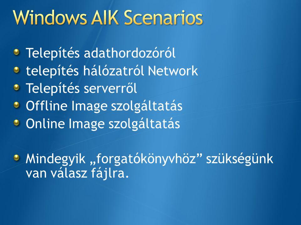 """Telepítés adathordozóról telepítés hálózatról Network Telepítés serverről Offline Image szolgáltatás Online Image szolgáltatás Mindegyik """"forgatókönyv"""