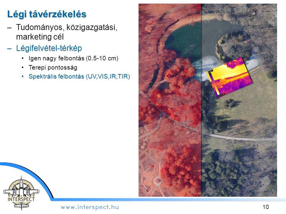 Légi távérzékelés –Tudományos, közigazgatási, marketing cél –Légifelvétel-térkép Igen nagy felbontás (0.5-10 cm) Terepi pontosság Spektrális felbontás